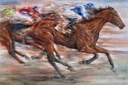 Silks by Gary Benfield -  sized 43x29 inches. Available from Whitewall Galleries